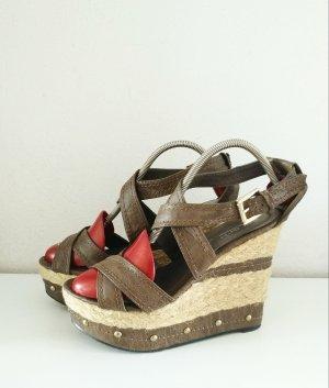 Wedges Braun Gold Sandalen mit Keilabsatz und Plateau