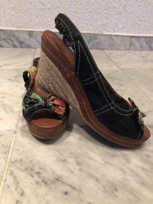 Plateauzool sandalen donkerblauw-bruin