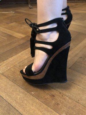 Plateauzool sandalen zwart-bruin