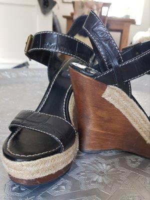 Zara Woman Sandały klinowe na obcasie Wielokolorowy