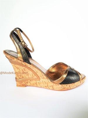 Wedges// Plateau-// Kork-// Designer- Sandaletten in Gold & Bronze