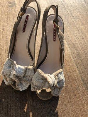 Prada Platform High-Heeled Sandal beige