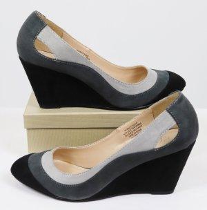 Wedges Pumps High Heels Kasper Größe 37 Schwarz Grau Anthrazit Cut Out Streifen  Velours Schuhe