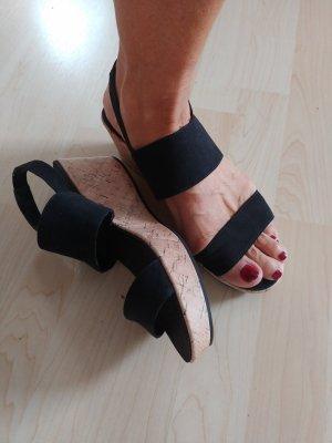 hm-moden Plateauzool sandalen zwart-zandig bruin