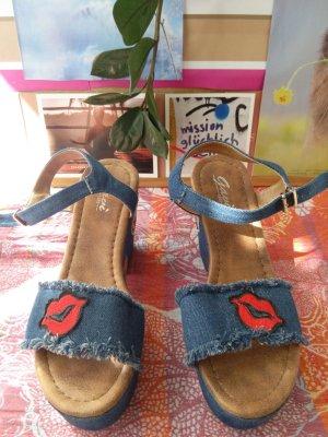 Wedges Sandalen, Jeans, Apllikationen, Gr. 40 - gut!