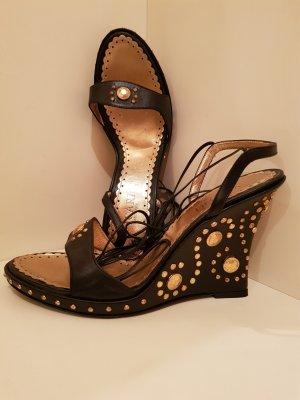 Wedges Sandaletten - Keil-Sandalette - Echtleder - golfarbene Metallelemente - NEU