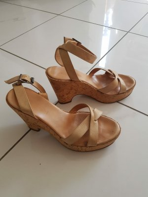 MARCCAIN Wedge Sandals beige leather