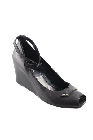 Wedges Sandaletten schwarz-silberfarben Casual-Look