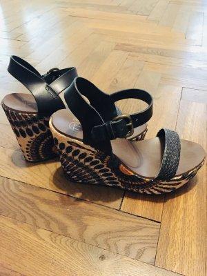 Zara Sandały klinowe na obcasie Wielokolorowy Tkanina z mieszanych włókien