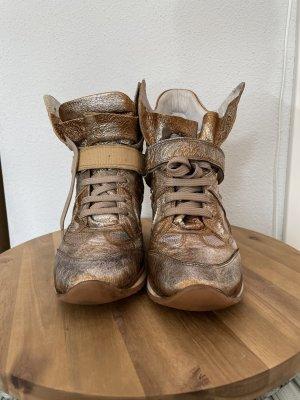 Sneaker con zeppa sabbia Pelle