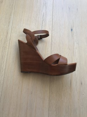 Lauren by Ralph Lauren Wedge Sandals cognac-coloured