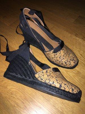 Platform Sandals black-cognac-coloured