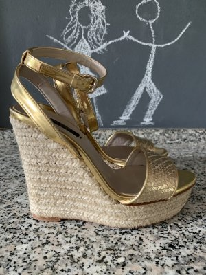Zara Wedge Sandals gold-colored-oatmeal