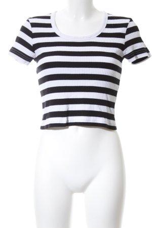 Weekday Cropped Shirt weiß-schwarz Streifenmuster Casual-Look