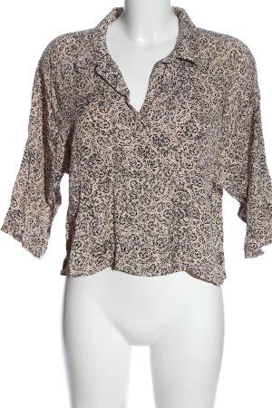 Weekday Hemd-Bluse creme-schwarz abstraktes Muster Casual-Look