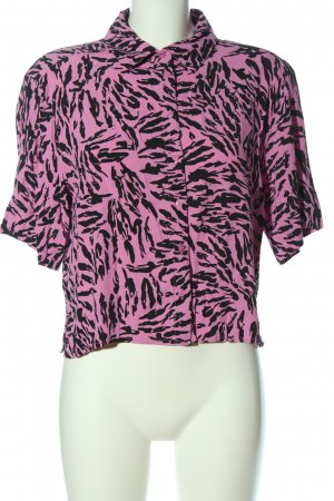 Weekday Camicia blusa rosa-nero stampa integrale stile casual