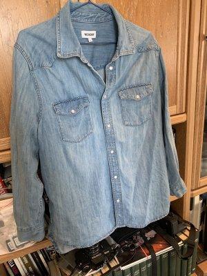 Weekday Blouse en jean bleu fluo