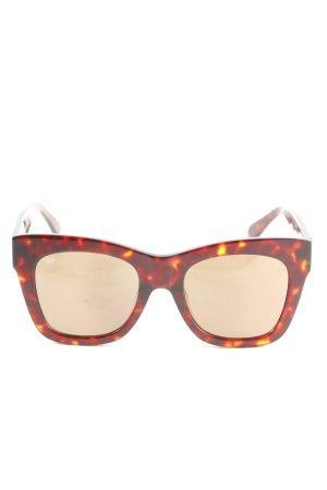 Weekday Karée Brille braun-hellorange abstraktes Muster Casual-Look