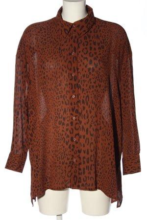 Weekday Langarm-Bluse braun Leomuster extravaganter Stil