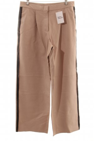 Weekday Pantalone in pelle beige chiaro-nero stile minimalista