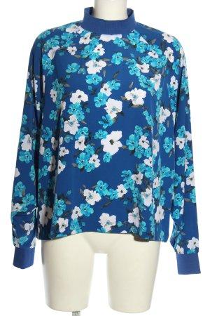 Weekday Schlupf-Bluse blau-weiß Allover-Druck Casual-Look