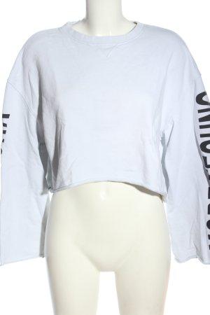 Weekday Sweatshirt weiß-schwarz Schriftzug gedruckt Casual-Look