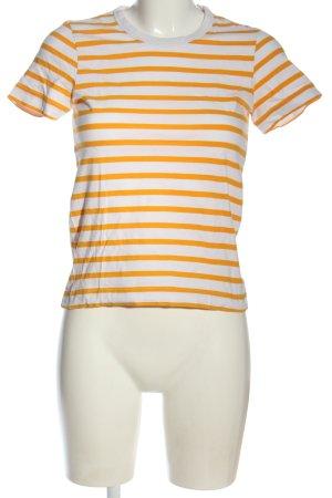 Weekday T-Shirt weiß-hellorange Streifenmuster Casual-Look