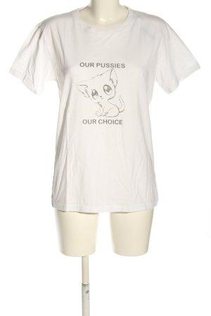 Weekday T-Shirt weiß-hellgrau Motivdruck Casual-Look