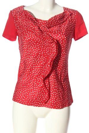 Weekend Max Mara Kurzarm-Bluse rot-weiß Punktemuster Casual-Look