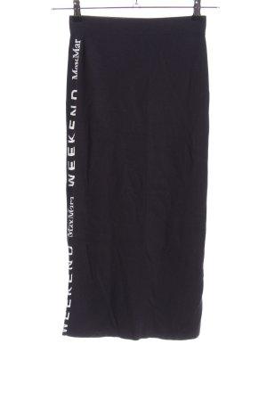 Weekend Max Mara Jupe tricotée noir-blanc lettrage imprimé style décontracté