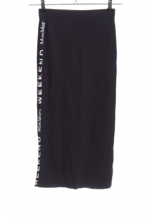 Weekend Max Mara Knitted Skirt white-dark blue printed lettering casual look