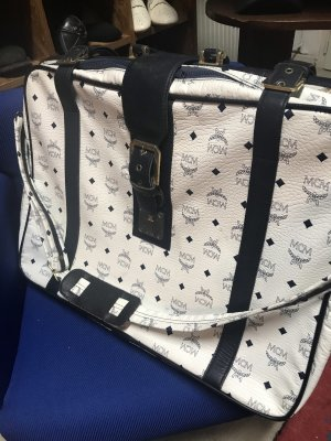 MCM Borsa da weekend bianco-blu scuro