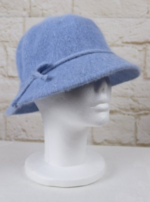 Woolen Hat cornflower blue-azure mixture fibre