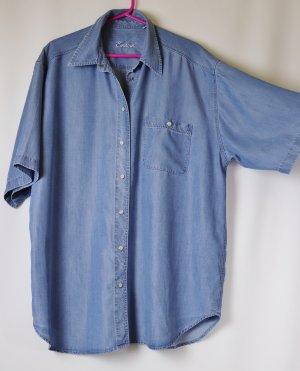 Weich Jeanshemd Jeans Bluse Hemdbluse Einhorn Größe 46 Hellblau Druckknopf Glanz Kurzarm Eggshape Long