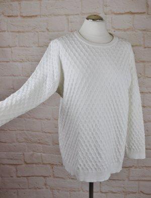Weich Long Pullover Dress In Größe XL 42 Weiß Punkte Dots Strickpullover Feinstrick
