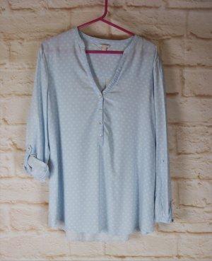 Weich Sommer Tunika Bluse Esprit Größe M 40 Hellblau Weiß Grau Punkte Blusentunika Langarmbluse