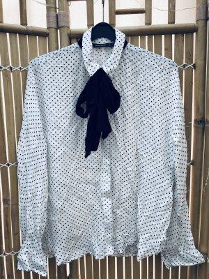 Zara Trafaluc Blusa con lazo blanco puro-negro