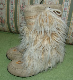 Fur Boots gold-colored-sand brown