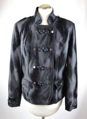 Weiche Samtjacke Samtblazer Größe 40 Posamenten Stehkragen Fake Fur Schwarz Kurzjacke Blazer Jacke Gothik Druckknöpfe Pannesamt