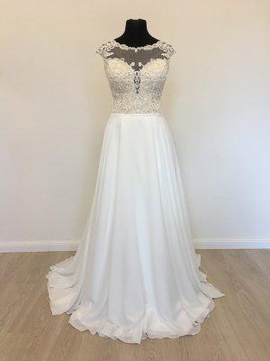 Weiche Schmale A-Linie Bohemian Vintage Style Brautkleid Hochzeitskleid Gr. 38 Weis/Nude