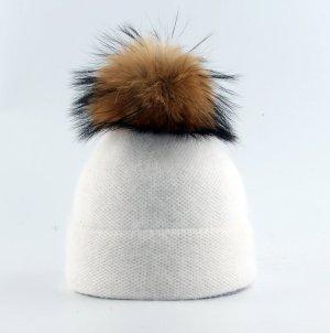Weiche Strick Mütze in cremeweiß mit Echtfell Bommel Pompom