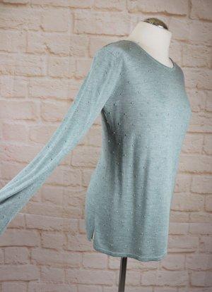 Weicher Basic Pullover Laura Torelli Größe S Mint Aqua Blau Grün Dots Punkte Strickpullover