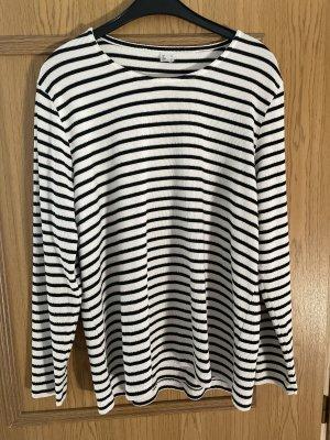 Sweter z okrągłym dekoltem biały-czarny