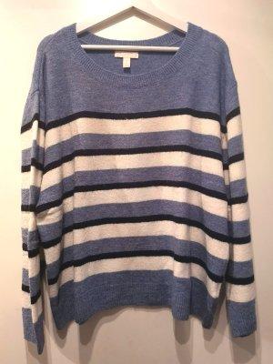 Weicher H&M Streifen-Pulli in Tricolor blau, schwarz, weiß, Gr. XL