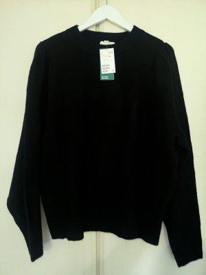 Weicher H&M Strick-Pullover mit Wollanteil und leichten Puff-Ärmeln in Schwarz, Gr. XL