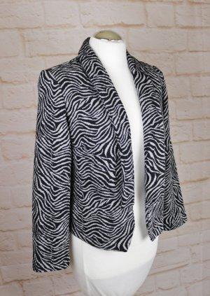 Weicher Kurz Cardigan Jacke Ambria Größe M 38 Schwarz Grau Streifen Struktur Zebra Animal Print Sweat