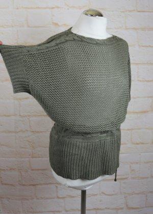 okay Długi sweter bez rękawów khaki-zielono-szary Poliakryl
