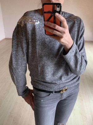 Weicher Mellierter Pullover mit Pailetten