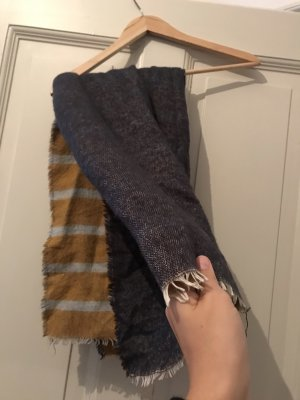 Mango Bufanda de lana naranja oscuro-azul oscuro