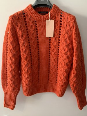 Maison Scotch Pull à gosses mailles rouge-orange fluo